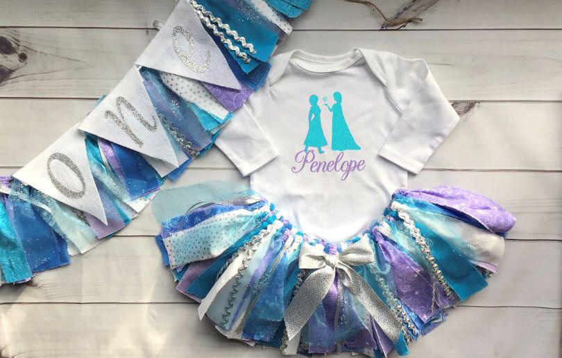 Frozen Let It Go Princess Snowflake Cake Smash Fabric Tutu