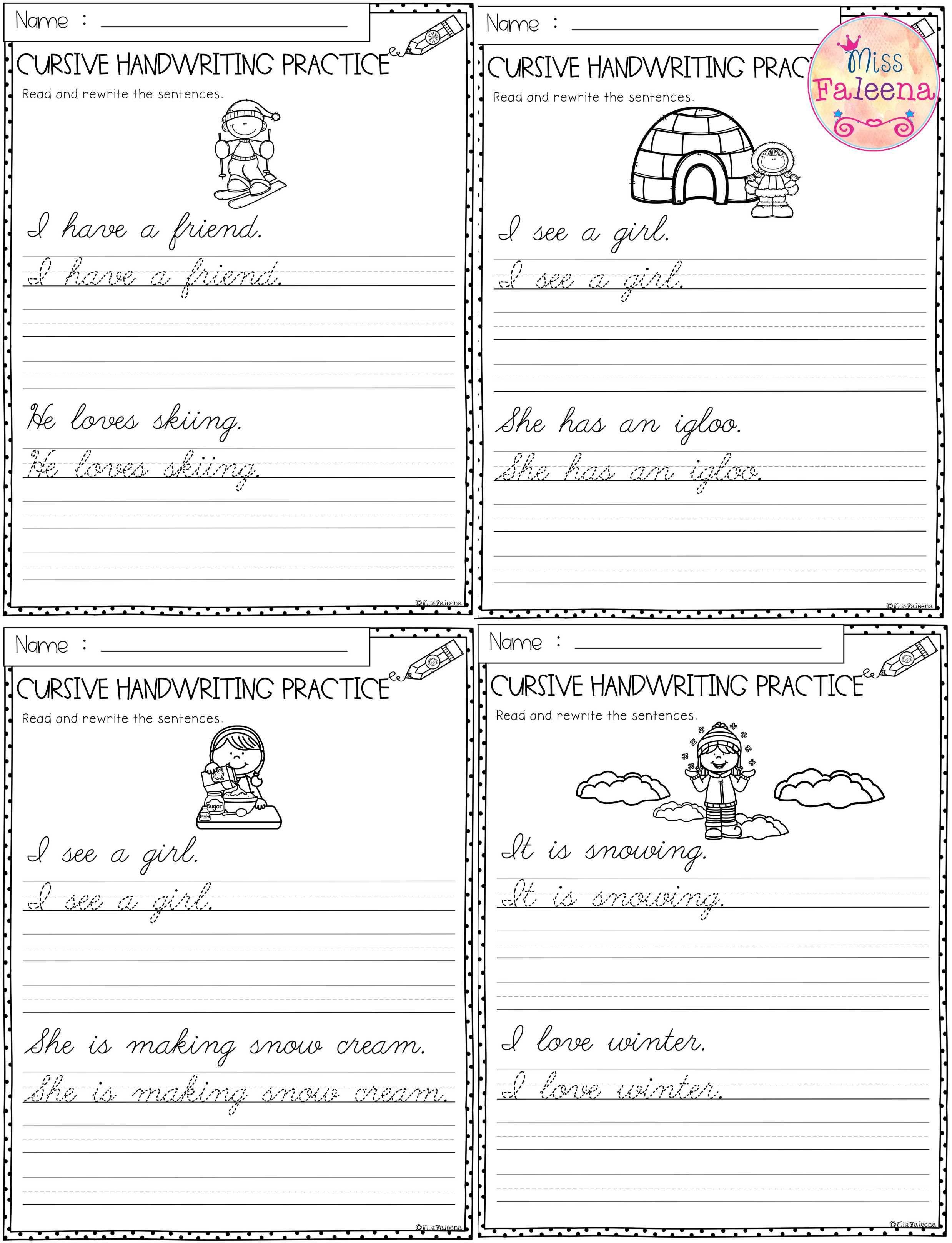 Winter Cursive Handwriting Practice