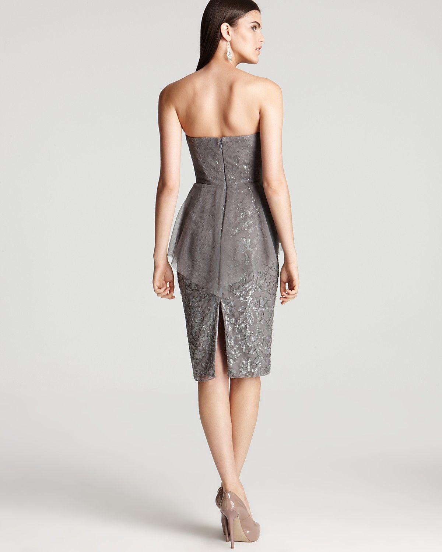 Badgley Mischka Strapless Dress - Lace Peplum   Bloomingdale's