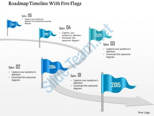Roadmap Timeline With Five Flags Powerpoint Template Slide - Roadmap timeline template ppt