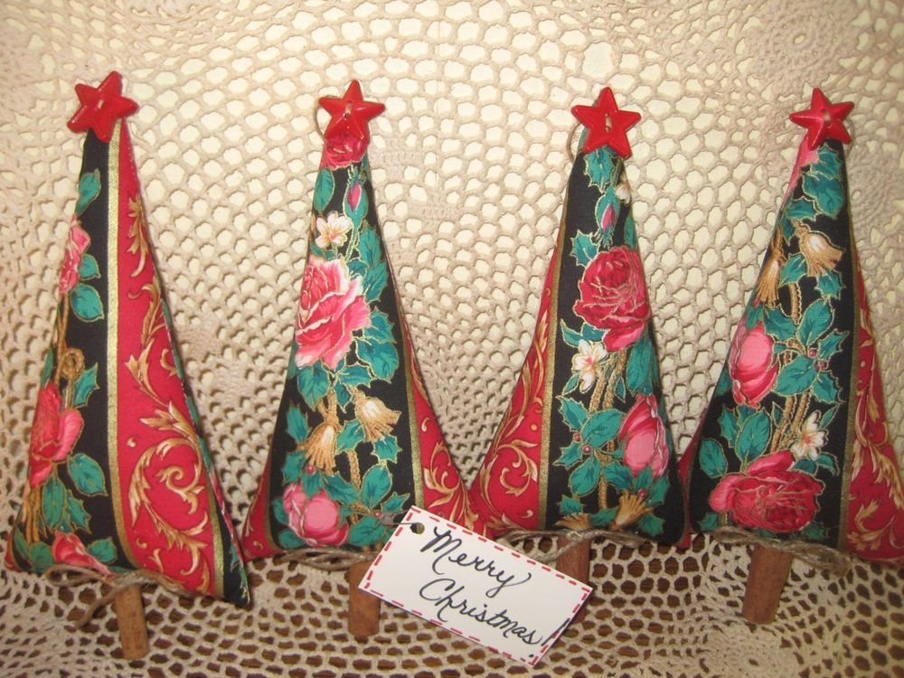 Set of 4 handmade Christmas rose fabric tree ornaments bowl fillers