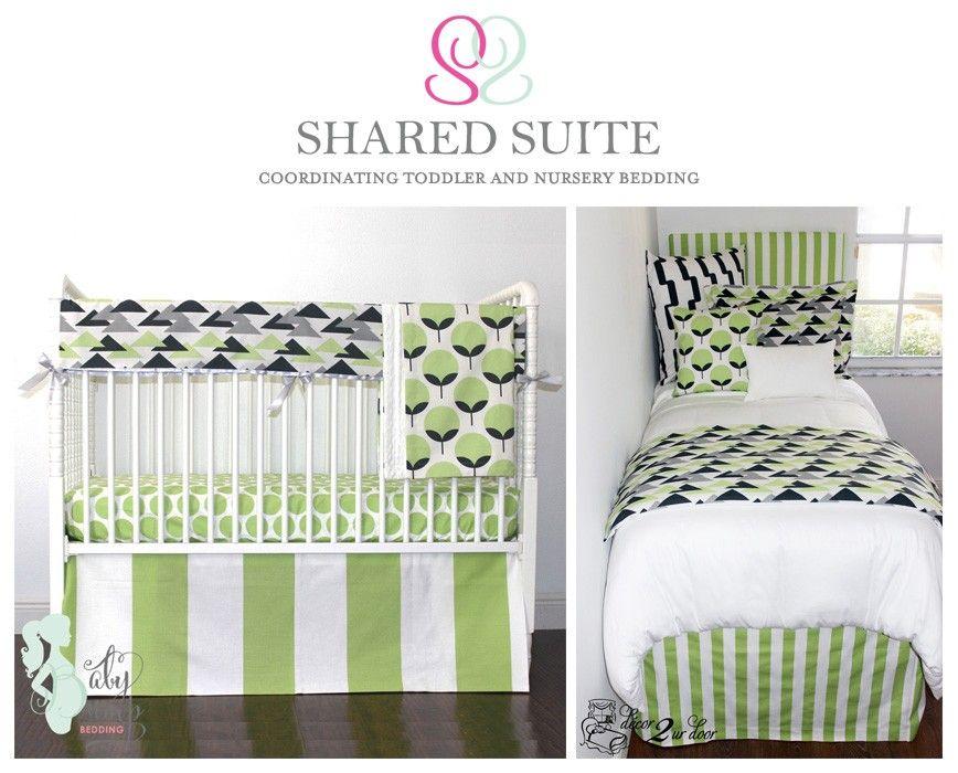 Kiwi Green Charcoal Geometric Sibling Shared Suite Bedding