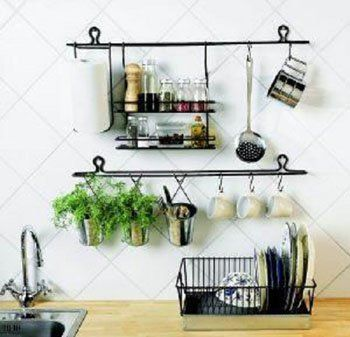 European Style Iron Creative Kitchen Storage Rack Hanging Wall