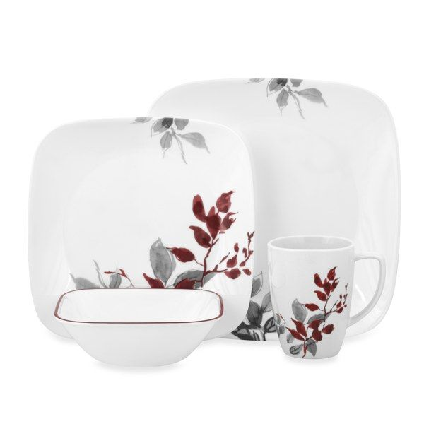 Corelle Kyoto Leaves 16 Piece Dinnerware Set Bed Bath Beyond