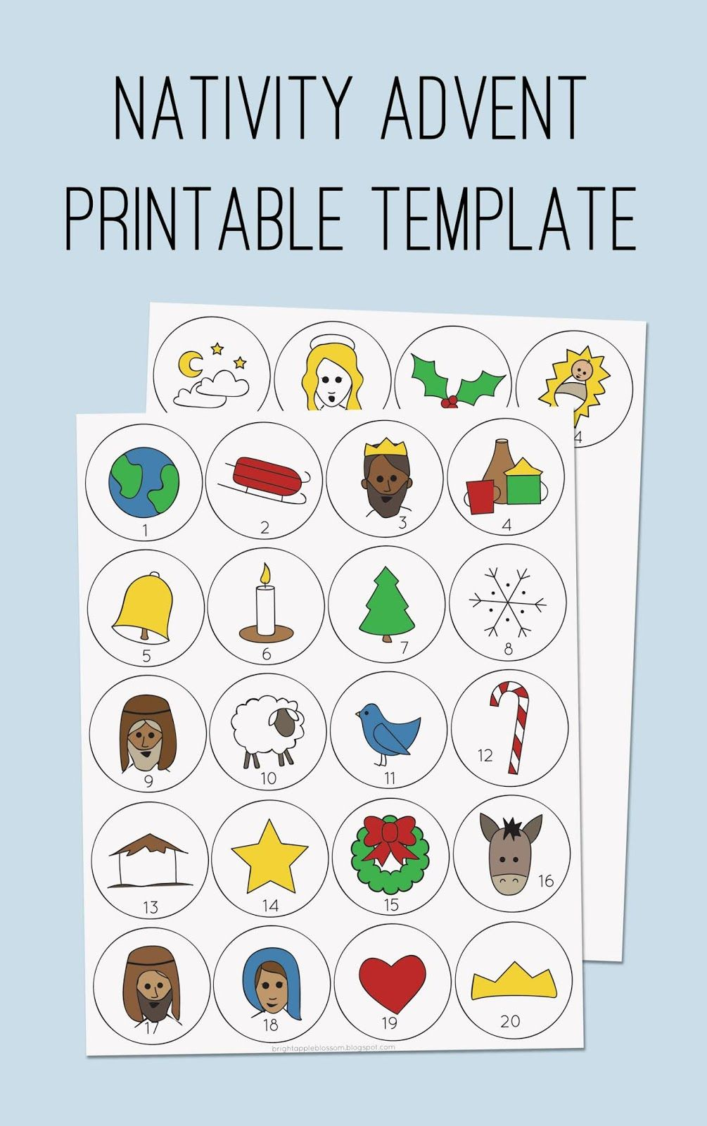 picture regarding Free Printable Advent Calendar Template called Nativity Introduction Template; Christ based arrival; Xmas