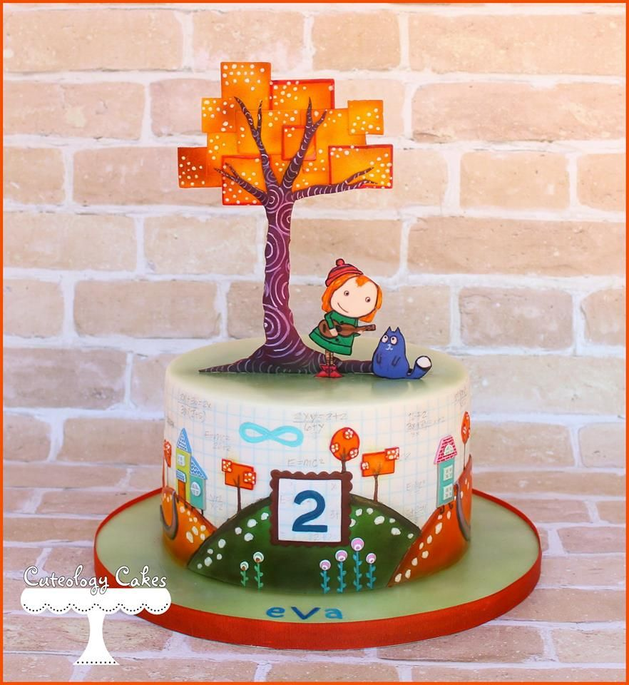 Peg Cat themed cake for Evas 2nd Birthday This cake design is