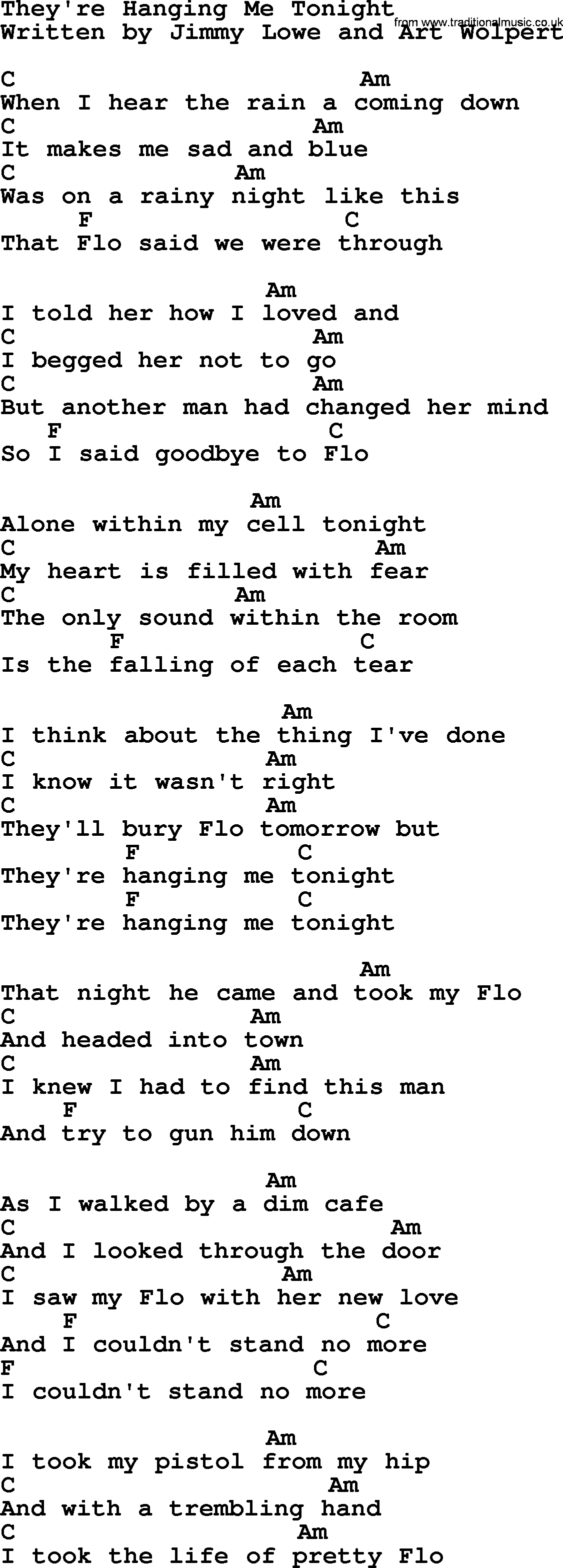 Marty Robbins Song Theyre Hanging Me Tonight Lyrics And Chords