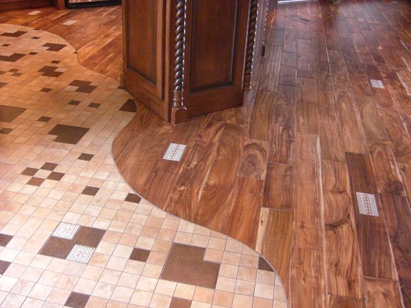 Tile Wood Floor Combination Curved Edge Edging Rooms