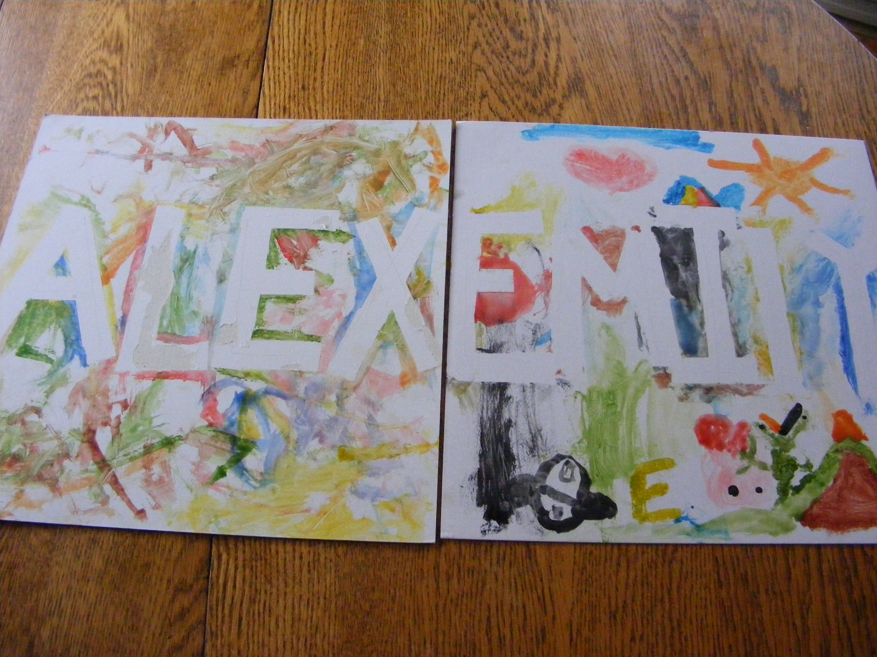 Tape Of The Child S Name With Painters Tape We Used Water Colors But You Can Use Fingerpaint We Also Used White Cardboard Instead Of Paper To Make It Knutselen