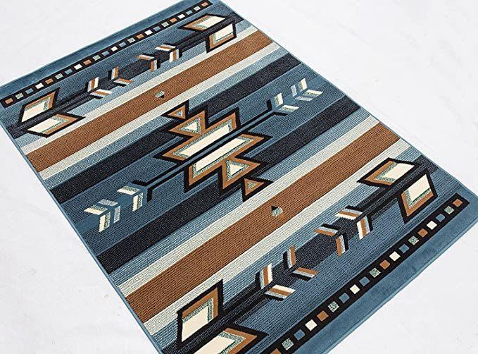 "Southwest Southwestern Native American Indian Modern Arrows Area Rug Carpet Light Blue (3' 9"" X 5' 2"")"