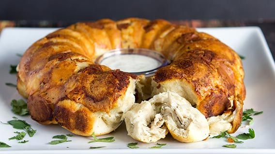 This savory monkey bread loaded with mozzarella cheese and ranch chicken will wow the crowd.