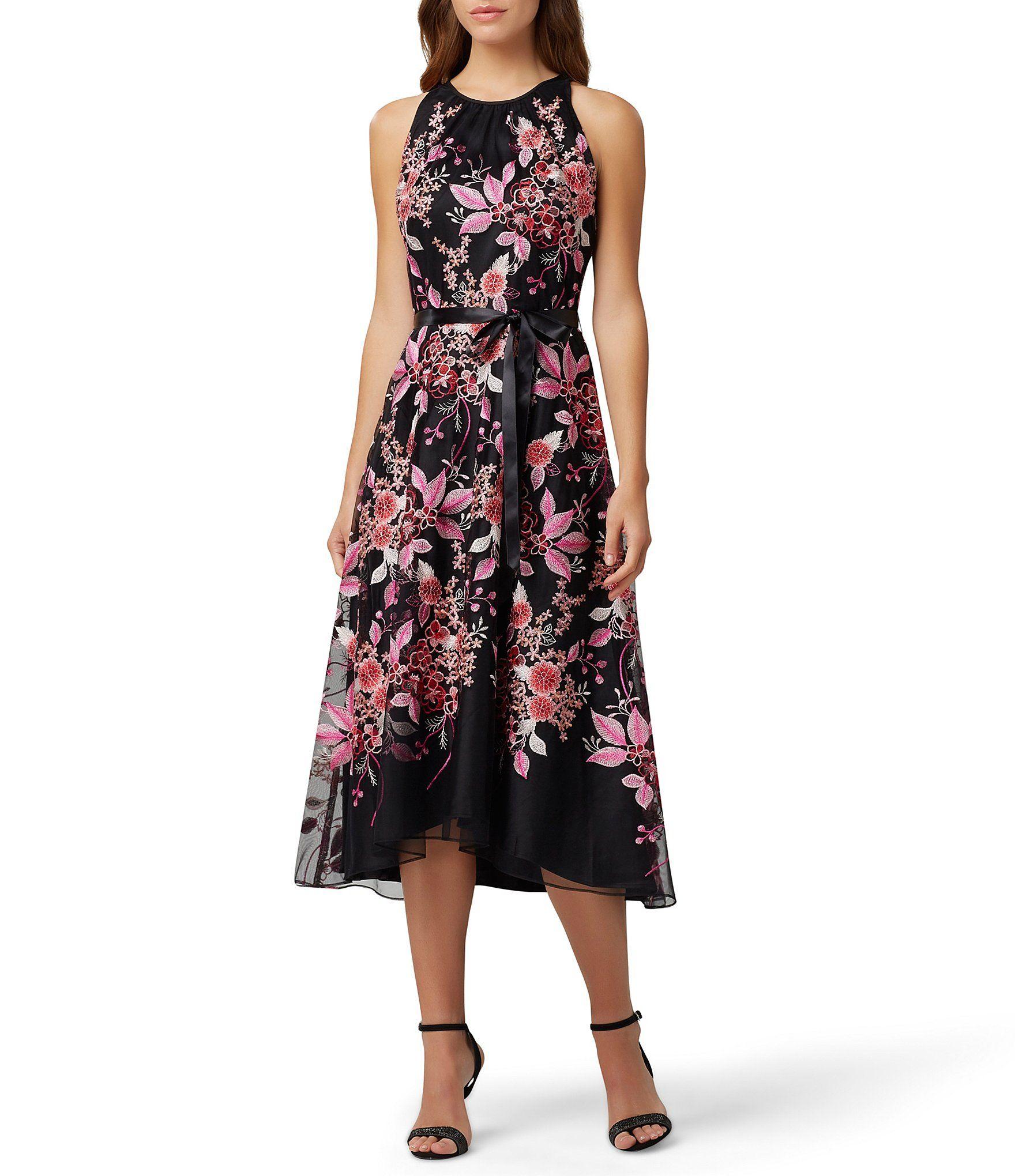 Tahari Asl Sleeveless Floral Embroidered Midi Dress In 2020 Hi Low Dresses Black Midi Dress Nordstrom Dresses