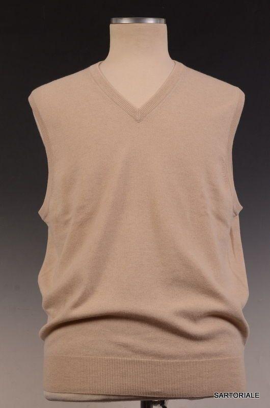 BRUNELLO CUCINELLI Beige Cashmere V-Neck Sleeveless Sweater Vest 3XL NEW 58