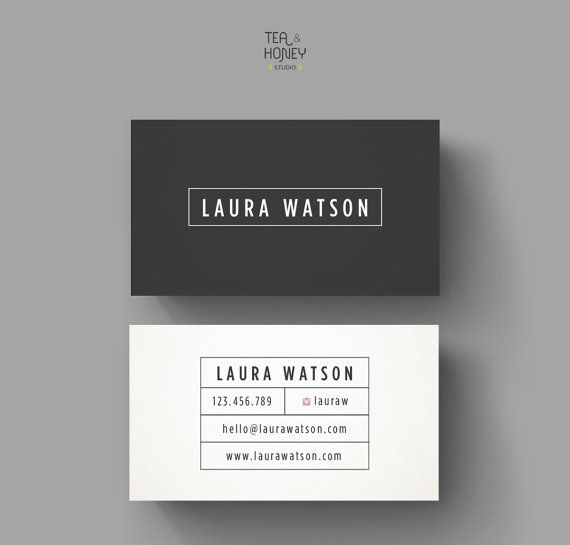 Modern Business Card Clean Design Template Premade Black And White Unique Simple Minimalistic Calling Small Branding