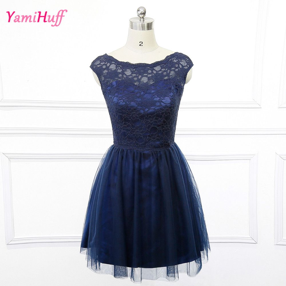 new product 622d9 dc499 Aliexpress.com : Buy Modest Short Navy Blue Bridesmaid ...