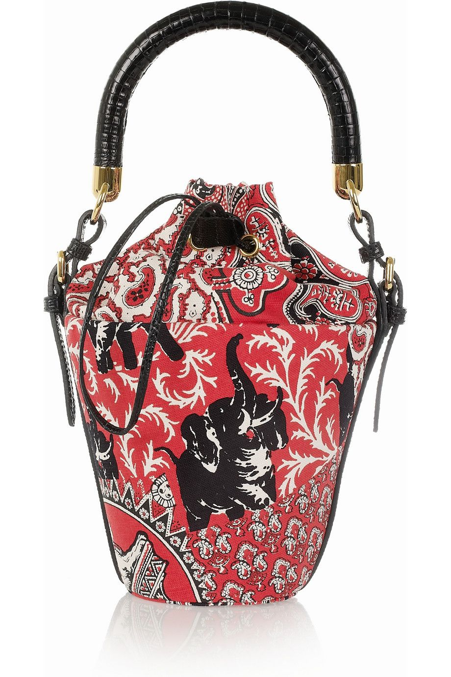 Miu Miu   Printed cotton-canvas mini bucket bag   NET-A-PORTER.COM ... 3d125b1777