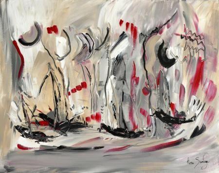 Un tableau abstrait gris noir blanc rouge d 39 me sauvage - Peintre tableau noir ...