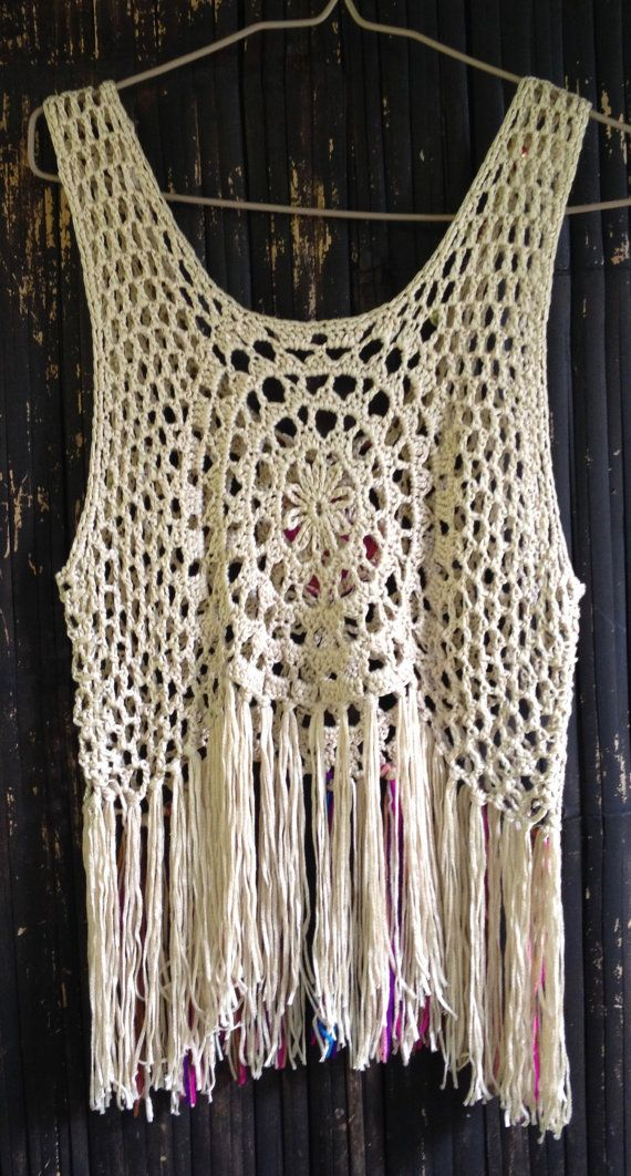 52c33c99f Handmade Crochet Fringe top with Vintage Jewelry/Boho Top ...