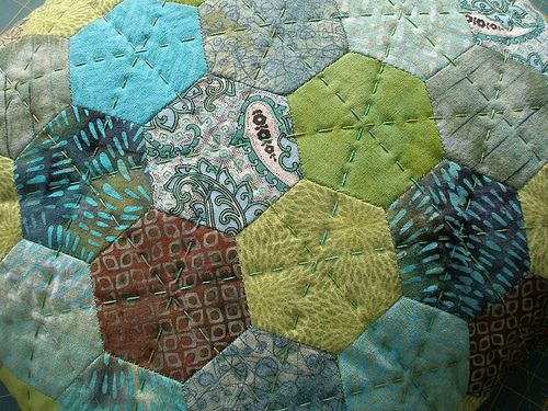 English paper pieced hexagons (quilting).