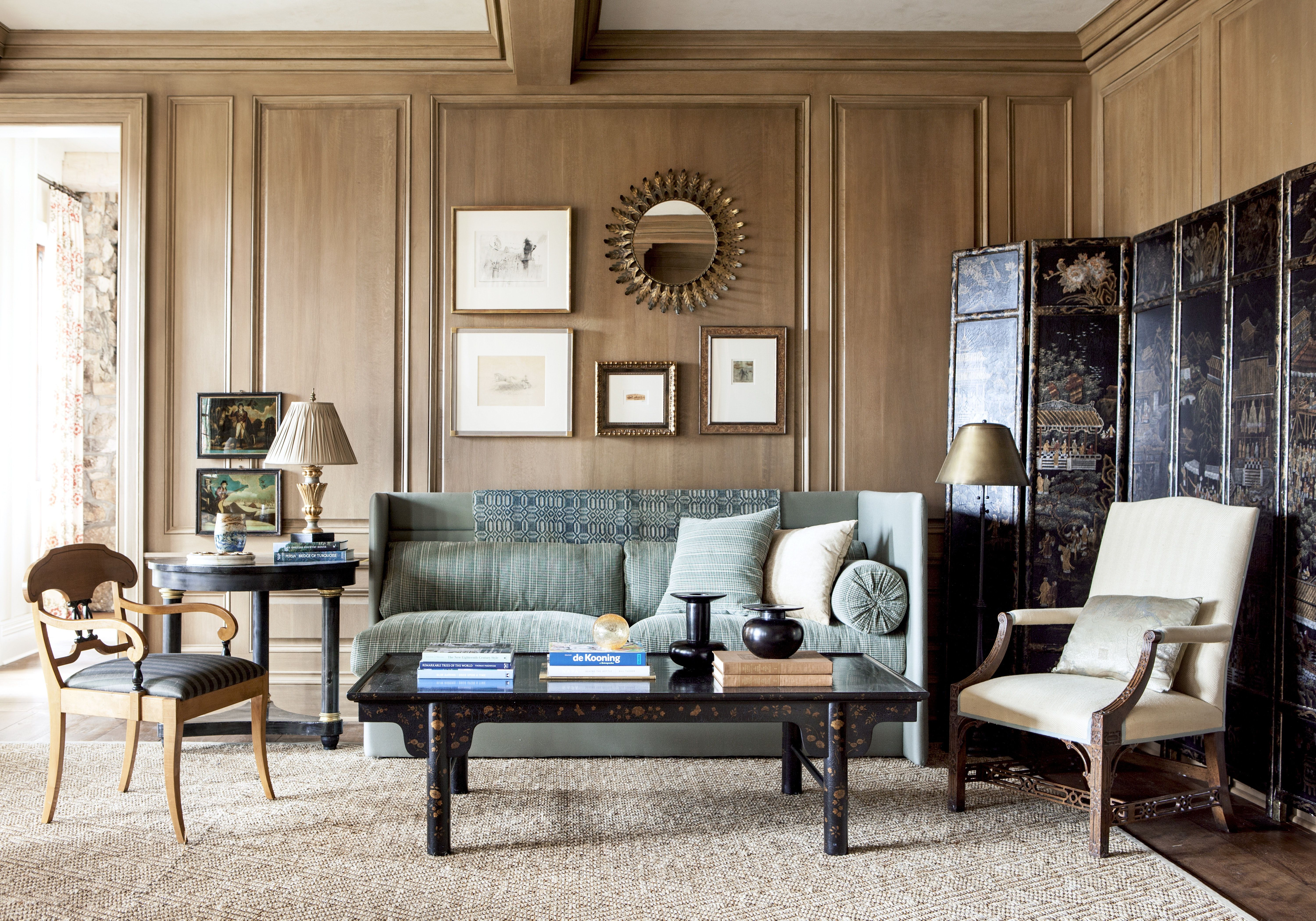 Relaxed Paneled Living Room Beautiful Med Tone Wood Farm House
