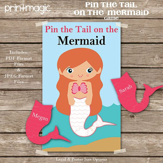 Pin the Tail on the Mermaid Printable Party Game - Mermaid Birthday