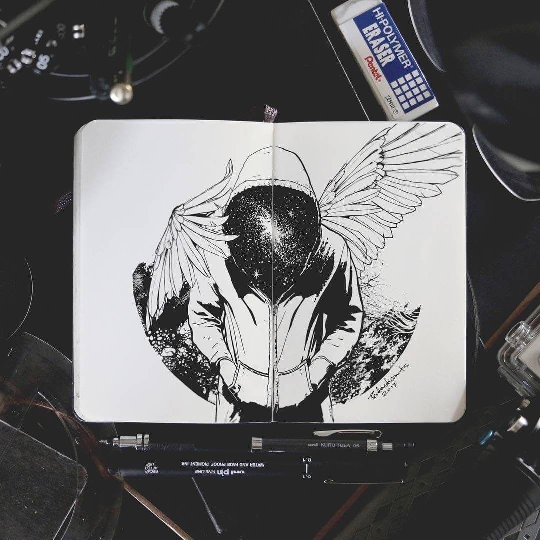 Black and white Ink Graphic Design Art