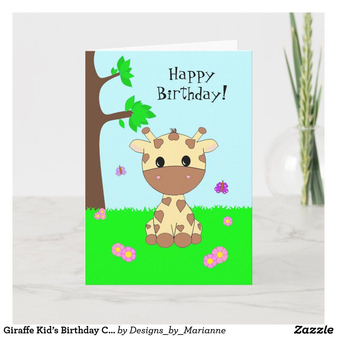 Giraffe Kid S Birthday Card Zazzle Com Kids Birthday Cards Birthday Cards Giraffe Birthday