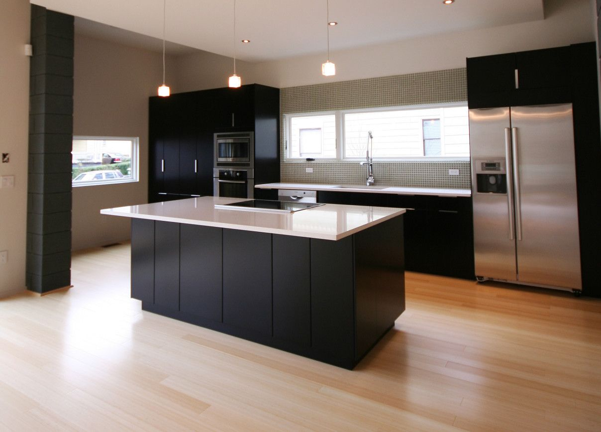Kitchen Cool Black And White Nuance Combined With Bamboo Floors In Kitchen Applied F Bamboo Flooring Kitchen Modern Kitchen Island Design Modern Kitchen Design