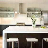 Best Modern Kitchen With Glass Front Upper Cabinets And 400 x 300