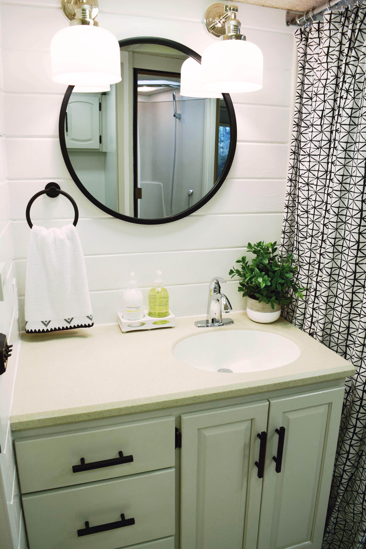 Rv Bathroom Remodel After Rv Bathroom Round Mirror Bathroom Bathrooms Remodel