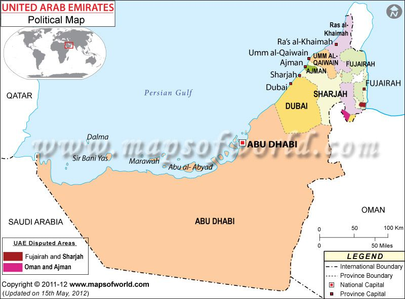 political map of united arab emirates uae
