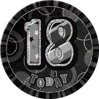 Black Glitz 18 Giant 6 Birthday Badge 18th Birthday Party