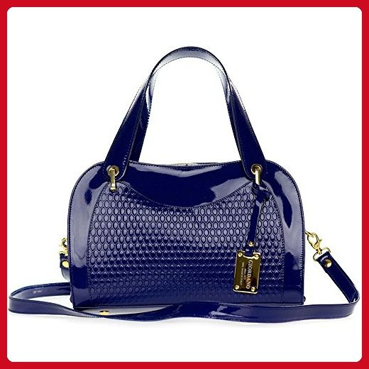 Giordano Italian Made Blue Patent Embossed Leather Satchel Handbag -  Satchels ( Amazon Partner-Link) c30e7c70db6da