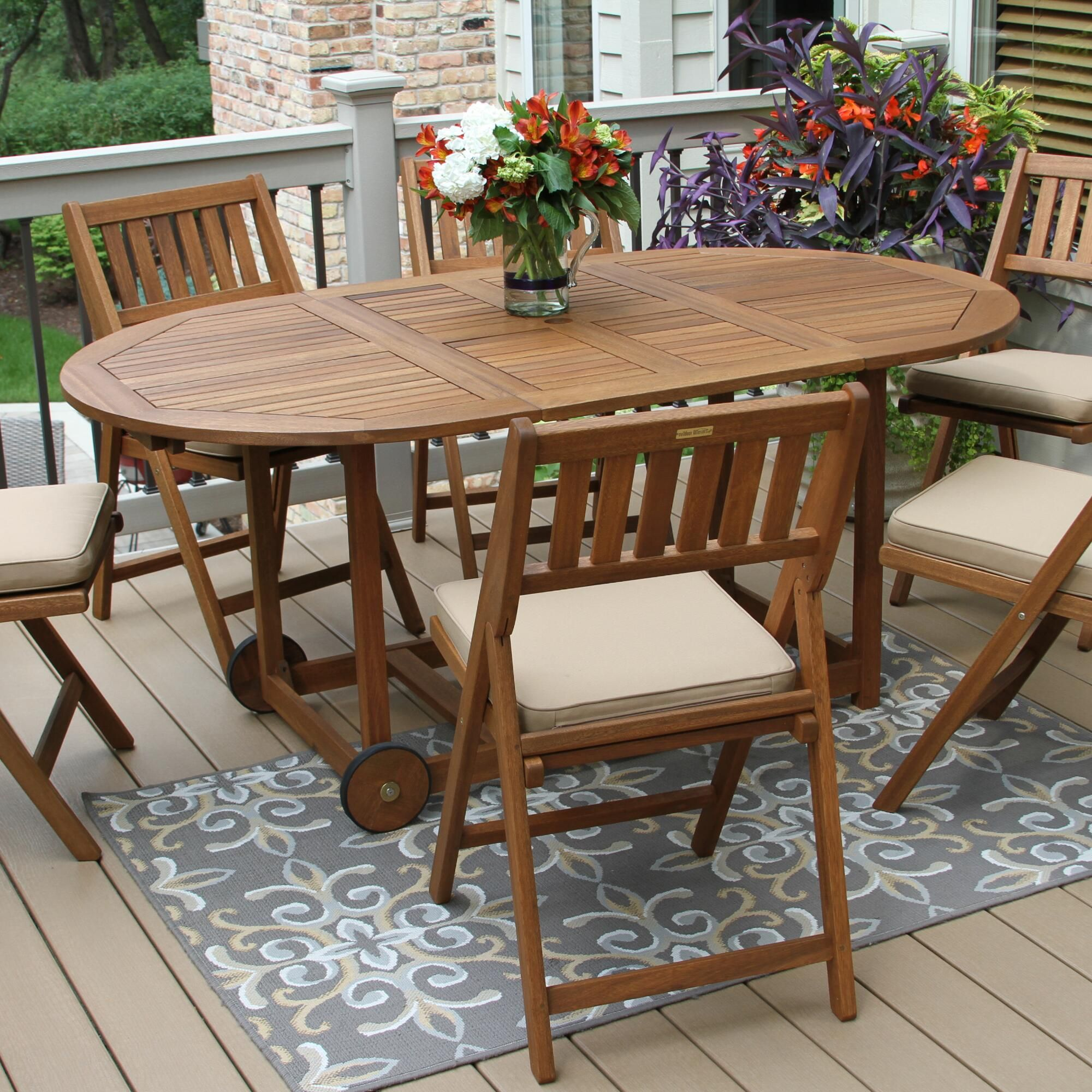 Oval Wood Lira 7 Piece Folding Dining Set In 2020 Oval Table