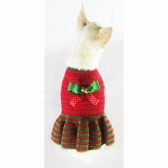 Santa Dog Dresses Ribbon Bells Holiday Pet Costumes by myknitt ...