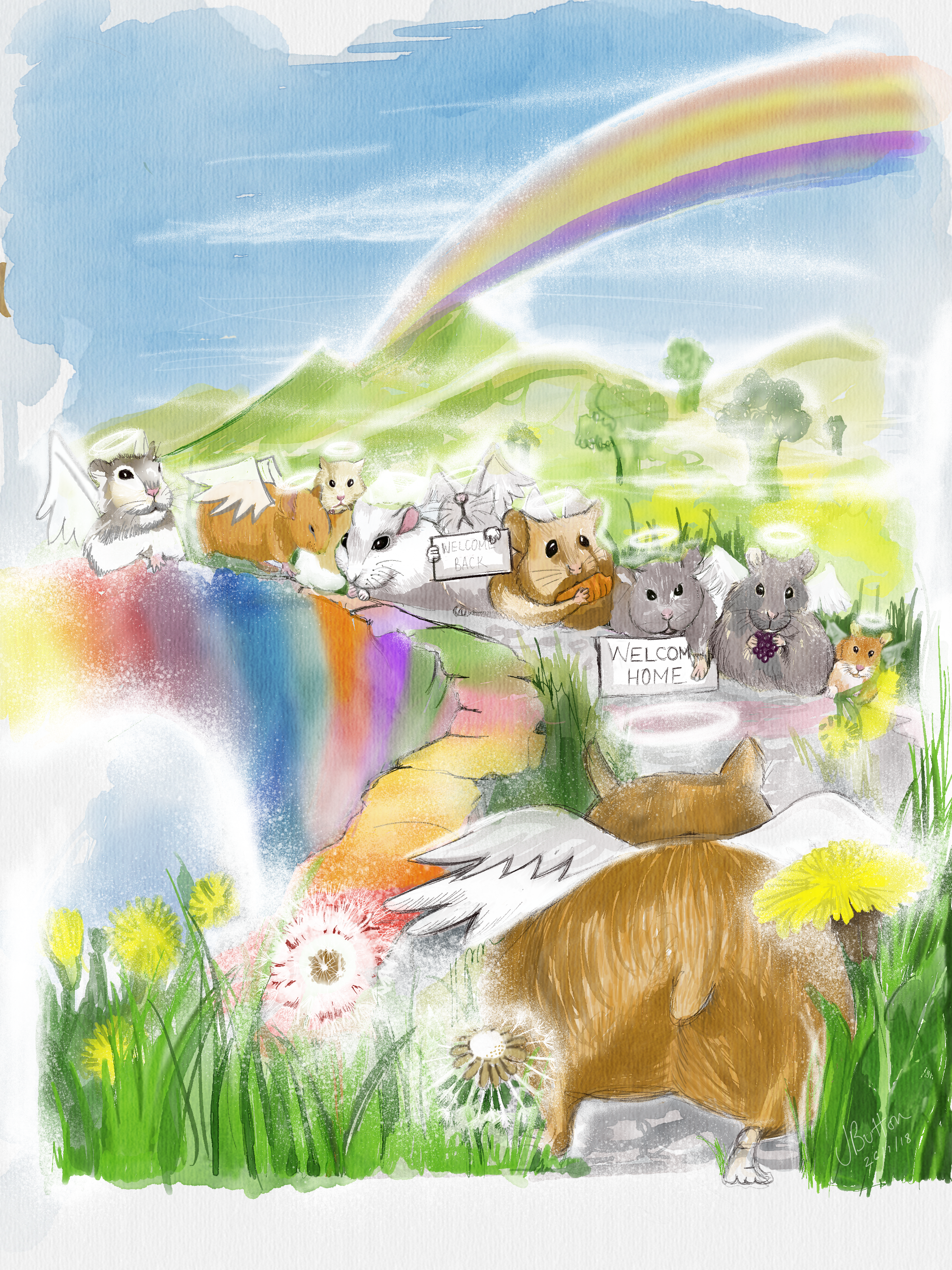 Hamster Heaven Rainbow Bridge Welcome Home Drawn After Our