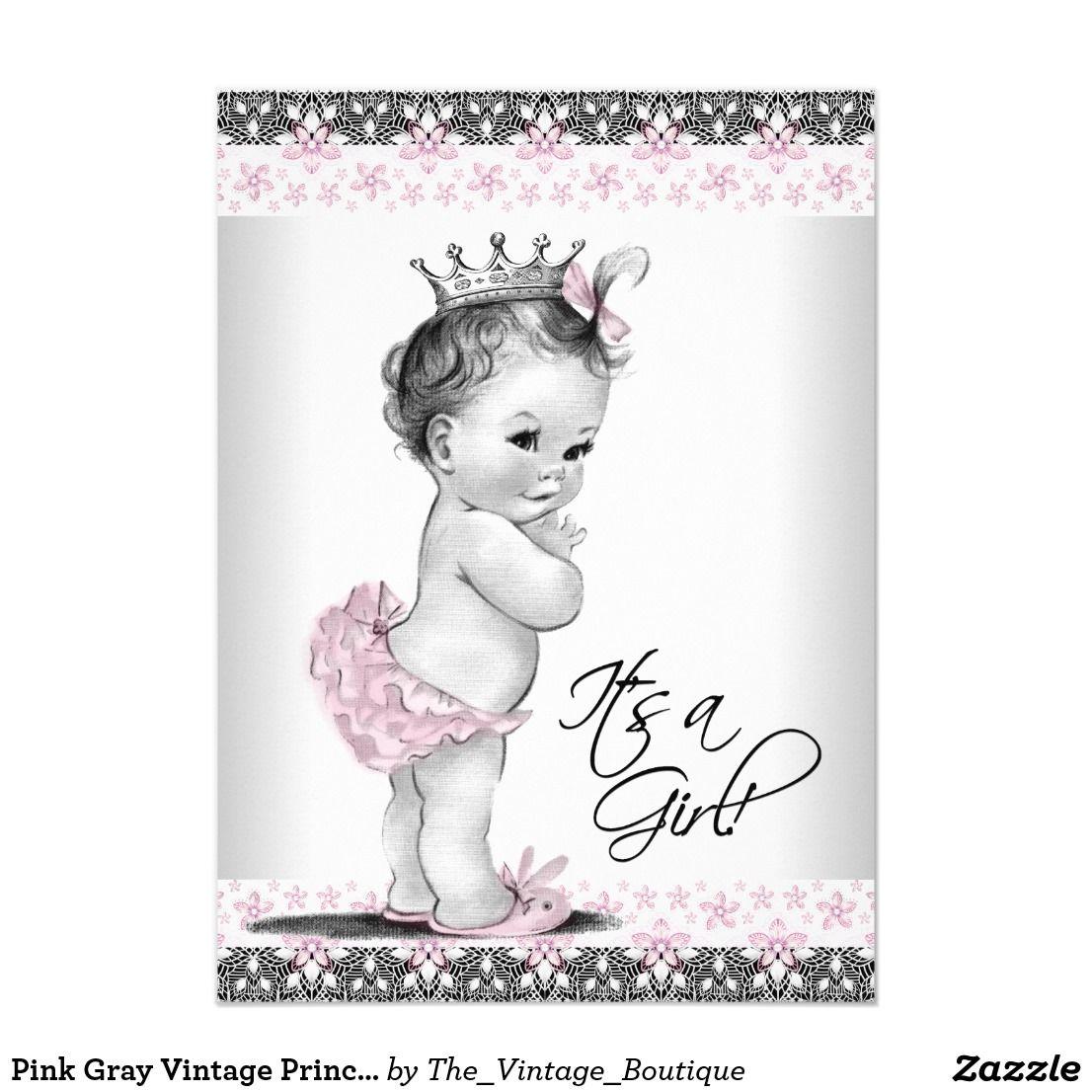 Pink gray vintage princess baby shower invitations filmwisefo