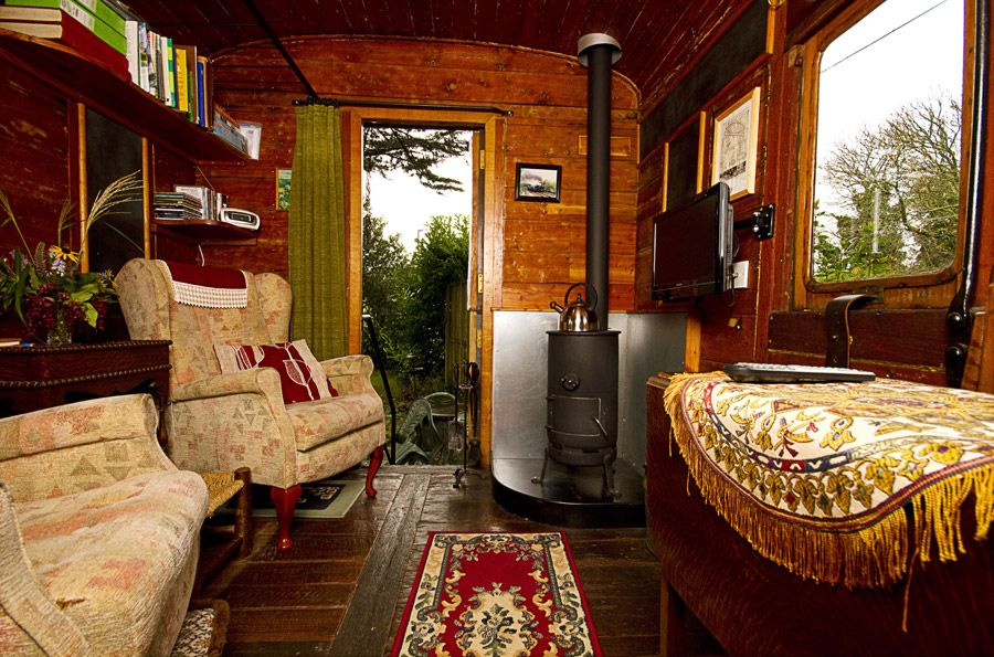 interior of the old luggage van a railcar converted into a one bedroom vacation rental suite