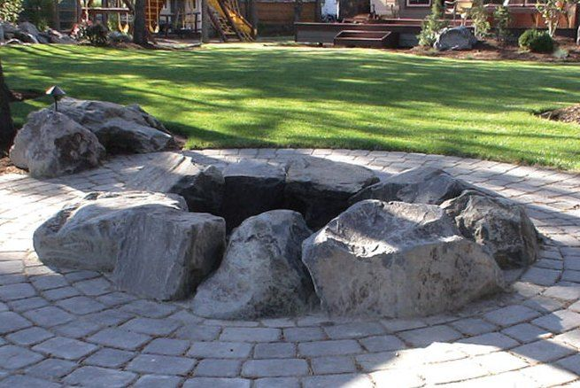 Natural Stone Boulder Fire Pit Fire Pit With Rocks Fire Pit Landscaping Natural Fire Pit