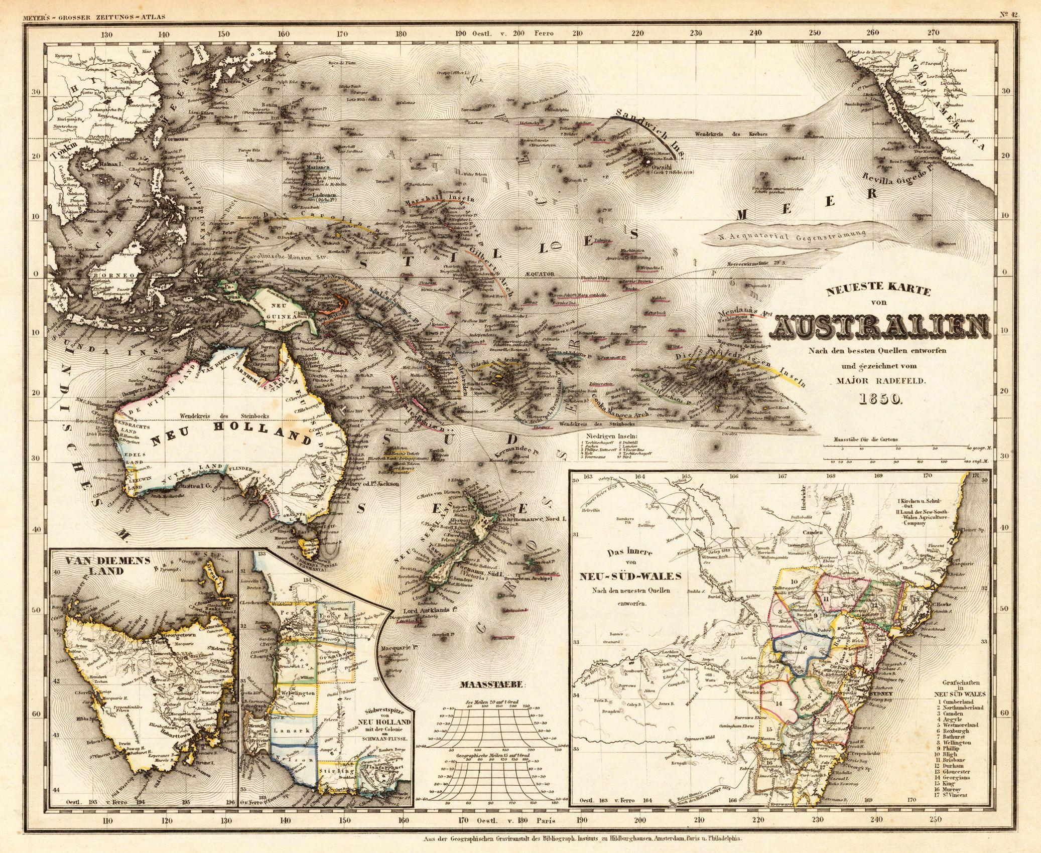 Australia Map 1850.1850 Australia Radefeld Antique Maps And Prints Mapas