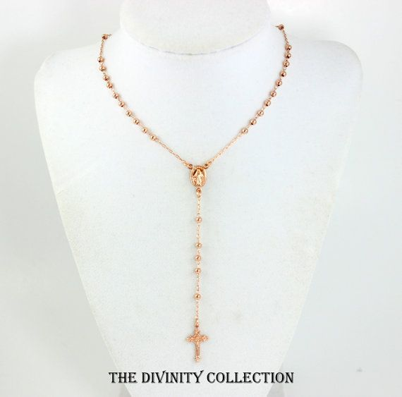 Rose Gold Rosary Necklace High Quality Cross Necklaces Women Jewelry Crucifix Pendant Miraculous Confirmation Gift Catholic Rosaries #rosaryjewelry This is a beautiful high quality 18kt rose gold filled rosary necklace.  This cross necklace features 3mm beads, a 11x9mm oval Miraculous Medallion with a 4 1/4 drop that includes a 18x12mm Italian Crucifix Cross pendant.  The entire necklace is made of 18kt rose gold filled, very high quality.   This necklace comes in a 18 length with spring clasp #catholicrosaries