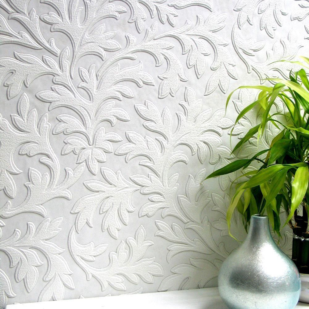 Anaglypta High Leaf Paintable Textured Vinyl Strippable Wallpaper Covers 57 5 Sq Ft 437 Rd80026 The Home Depot Paintable Textured Wallpaper Vinyl Wallpaper Anaglypta Wallpaper