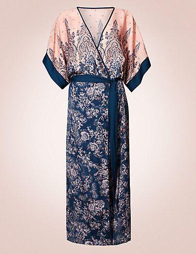 Satin Floral Print Wrap Dressing Gown | spring pijamas2017 ...
