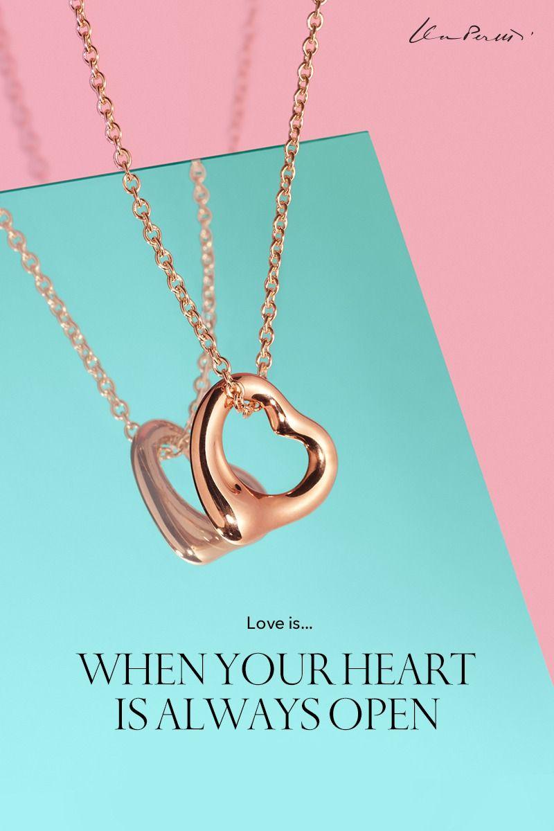 136cbaf58edec Elsa Peretti® Open Heart pendant in 18k rose gold.