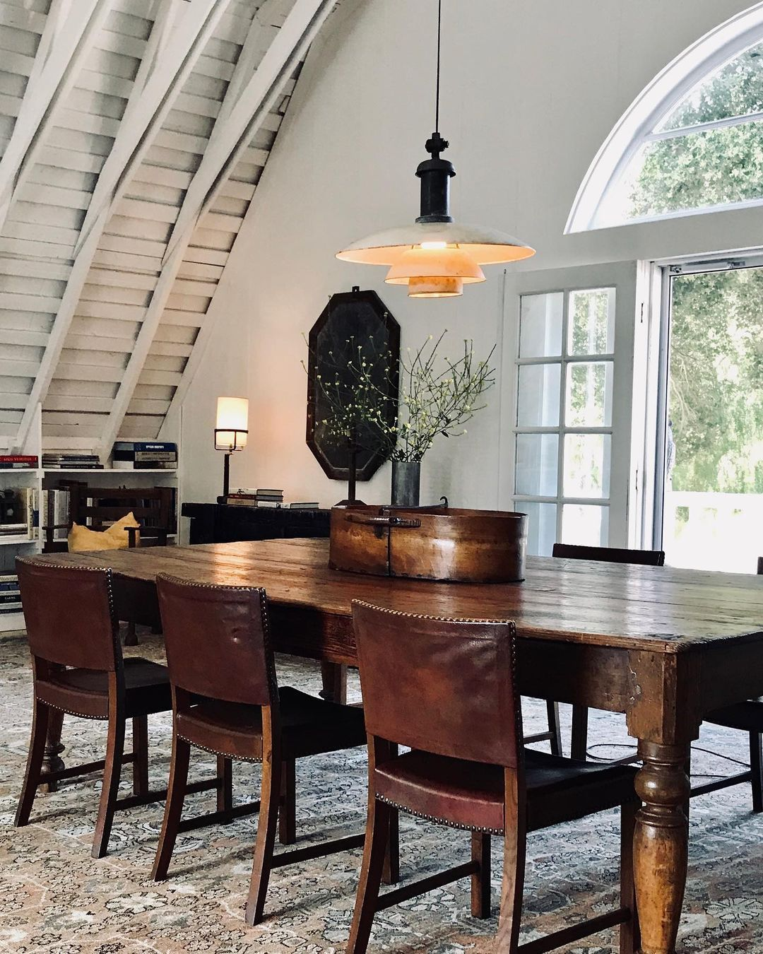 house dining design on Clements Design On Instagram Farm House Dining Chairs By Kaare Klint Pendant By Poul Henningsen Antique Kerman R Clements Design Kerman Rugs Dining Chairs