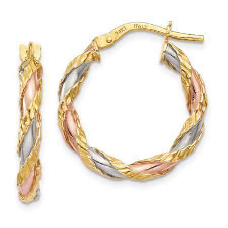 14K Plated Rose Rhodium Hoop Earrings