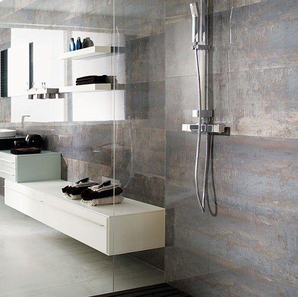Polish Bathroom Tile: Porcelanosa Shine Dark Setting