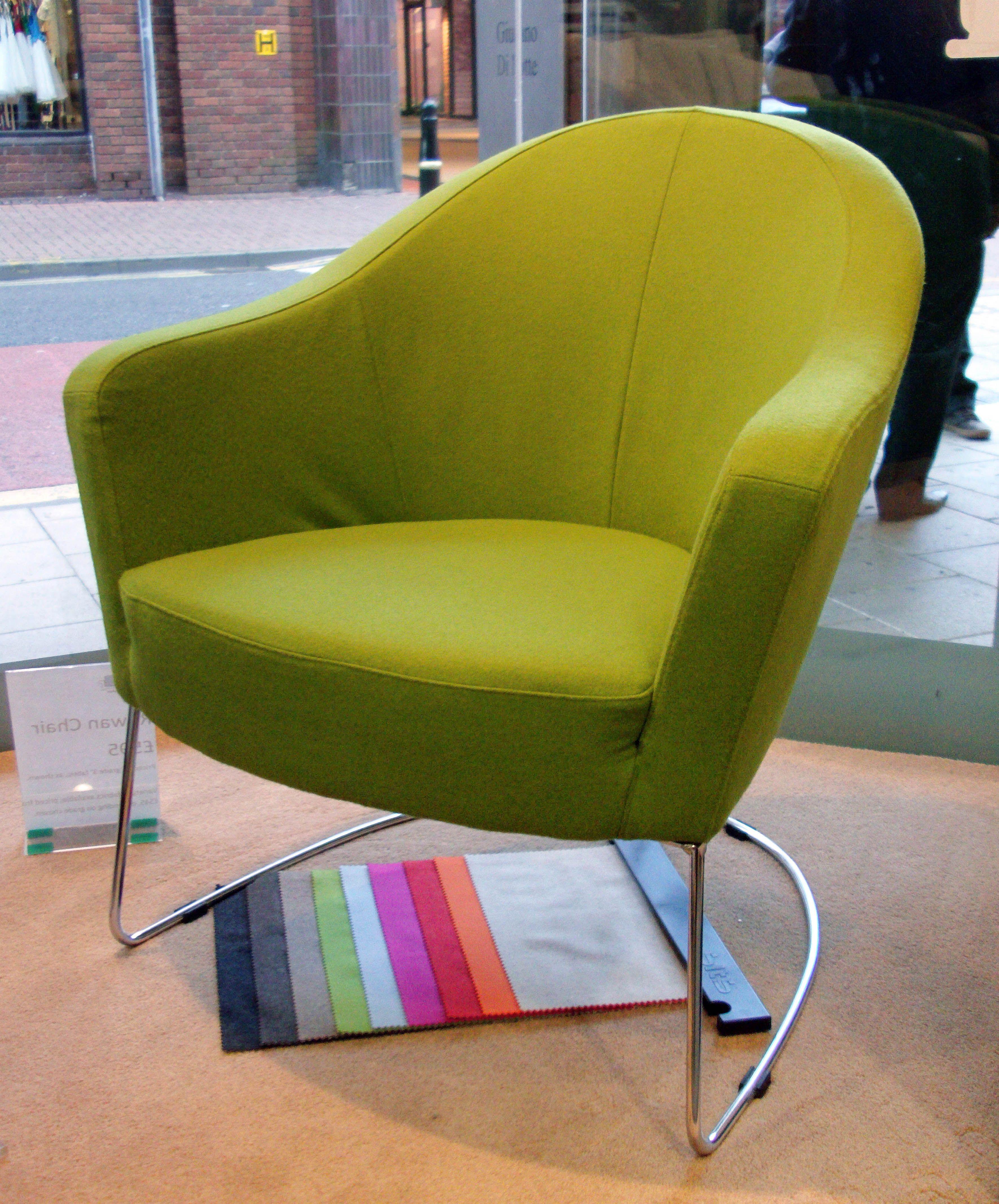Bright green felt on this designer standalone chair