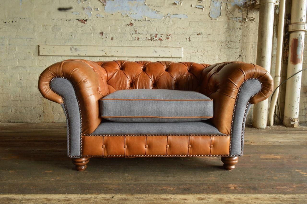 Vintage Tan Leather Grey Wool Chesterfield Snuggle Chair