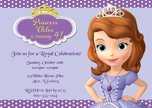 sofia the first birthday party invitations $1.00 each item_900, Party invitations